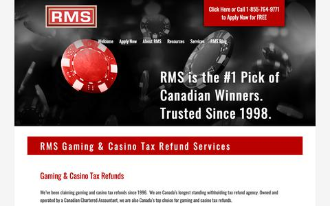 Screenshot of Services Page refundmanagement.com - Canada's Gaming & Casino Tax Refund Service | RMS - captured Oct. 20, 2018