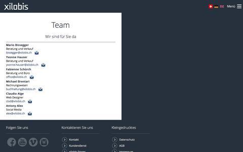 Screenshot of Team Page xilobis.ch - Xilobis - Team - captured Dec. 9, 2016