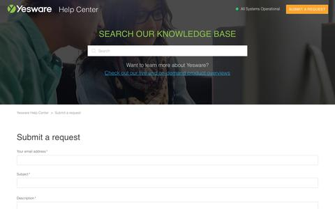 Screenshot of Support Page yesware.com - Submit a request – Yesware Help Center - captured July 12, 2019