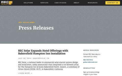 Screenshot of Press Page recsolar.com - REC Solar Press Coverage - captured May 3, 2017