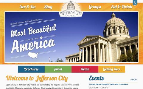 Screenshot of Home Page visitjeffersoncity.com - Jefferson City Convention and Visitors Bureau - captured Oct. 6, 2014