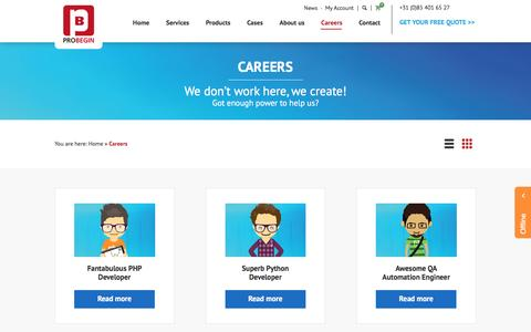 Screenshot of Jobs Page probegin.com - PROBEGIN Careers - captured July 9, 2016