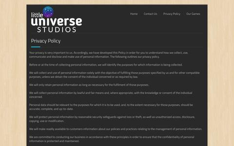 Screenshot of Privacy Page littleuniversestudios.com - Privacy Policy | Little Universe Studios - captured Dec. 12, 2015