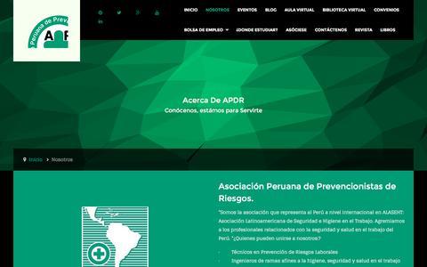 Screenshot of About Page apdr.org.pe - APDR / Asociación Peruana De Prevencionistas De Riesgos - Nosotros - captured March 4, 2016