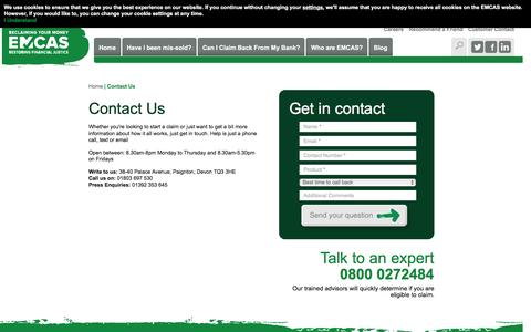 Screenshot of Contact Page emcasclaims.co.uk - Contact Us - Expert Financial Claims Company   EMCAS - captured Dec. 3, 2015