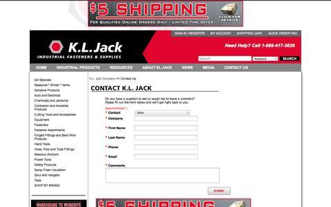 Screenshot of Contact Page Locations Page kljack.com - KL Jack   Industrial Fasteners and Supplies - 1-866-471-3626   SALES@KLJACK.COM - captured Oct. 23, 2014