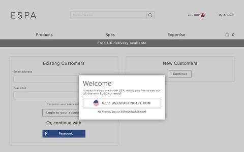 Screenshot of Login Page espaskincare.com - Account Login     | ESPA - captured Sept. 22, 2017