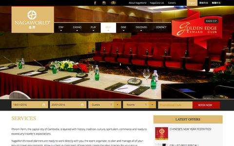 Screenshot of Services Page nagaworld.com - Meeting and Event Services - captured Jan. 18, 2016
