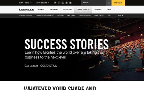 Screenshot of Case Studies Page lesmills.com - Gym & Fitness Club Success Stories – Les Mills - captured Oct. 27, 2016