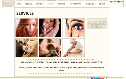 Screenshot of Services Page stainlesssalon.com - Stainless Salon | Services - captured Dec. 7, 2016