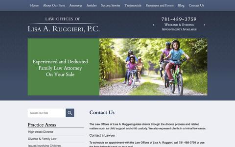 Screenshot of Contact Page lisaruggieri.com - Contact Us | Law Offices of Lisa A. Ruggieri, P.C. | Wellesley - captured Jan. 26, 2016