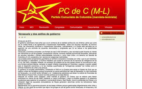 Screenshot of Home Page pcdecml.org - Venezuela y dos estilos de gobierno - captured June 19, 2016