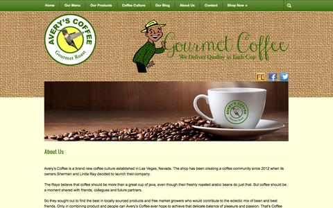 Screenshot of About Page averyscoffee.com - Avery's Coffee: Coffee Shop in Las Vegas | Las Vegas Coffee House | Avery's Coffee - captured Sept. 30, 2014
