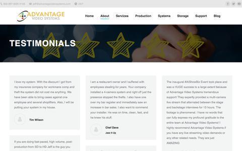 Screenshot of Testimonials Page advantagevideosystems.com - Testimonials | AVS - captured July 29, 2018
