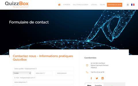 Screenshot of Contact Page quizzbox.com - Informations pratiques - QuizzBox Solutions - captured Nov. 22, 2018