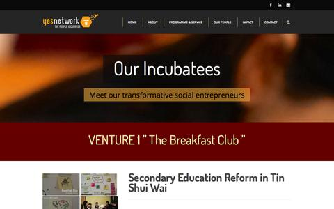 Screenshot of Team Page yesnetwork.org - Our Incubatees | YES Network - captured Oct. 3, 2014