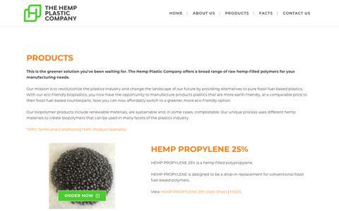Screenshot of Products Page hempplastic.com - Products - Hemp Plastic - captured Jan. 24, 2020