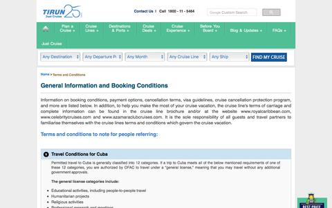 Screenshot of Terms Page tirun.com - General Information and Booking Conditions - Tirun Travel Marketing - captured Sept. 23, 2018