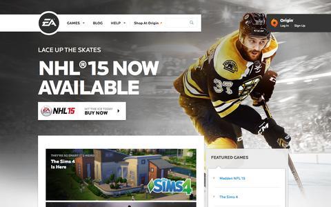 Screenshot of Home Page ea.com - EA Games - Electronic Arts - captured Sept. 16, 2014