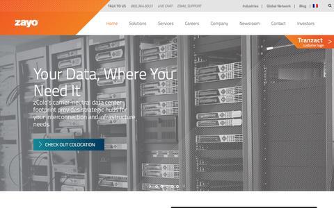 Screenshot of Home Page zayo.com - Zayo Group | Fiber, Bandwidth, Colocation & Cloud Services - captured Oct. 24, 2015