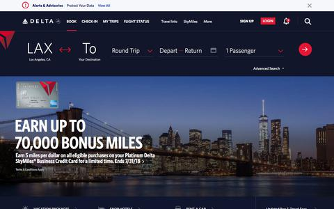 Screenshot of Home Page delta.com - Airline Tickets & Flights: Book Direct with Delta Air Lines - Official Site - captured July 12, 2018