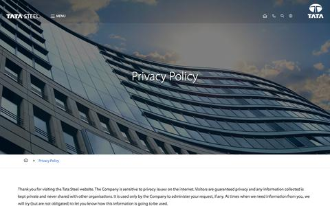 Screenshot of Privacy Page tatasteel.com - Privacy Policy - captured Aug. 13, 2017
