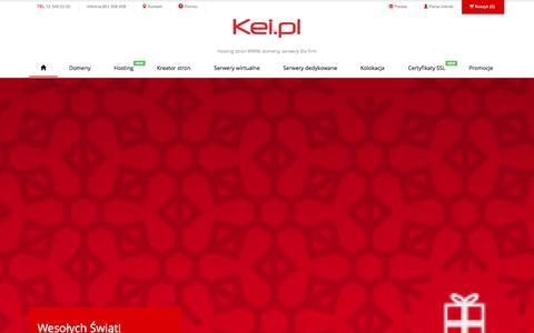 Screenshot of Home Page kei.pl - Hosting stron www, domeny, serwery dla firm - Kei.pl - captured Jan. 10, 2016