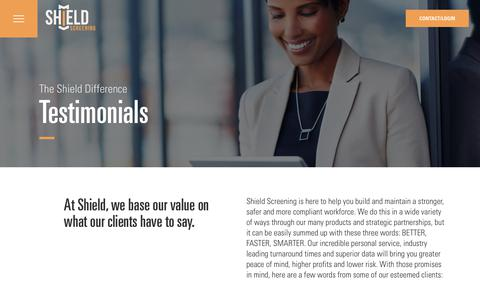 Screenshot of Testimonials Page shieldscreening.com - Testimonials - Shield - captured July 27, 2018