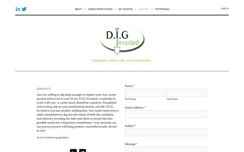 Screenshot of Contact Page squarespace.com - Contact Lisa — D.I.G. Invested, LLC. - captured Sept. 11, 2014