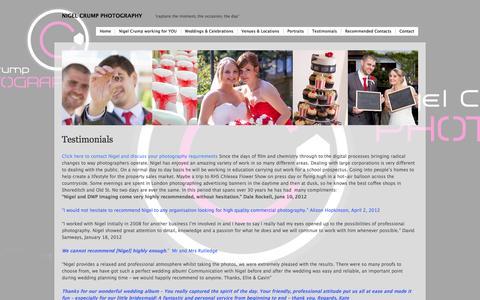 Screenshot of Testimonials Page wordpress.com - Testimonials | Nigel Crump Photography - captured Oct. 26, 2014