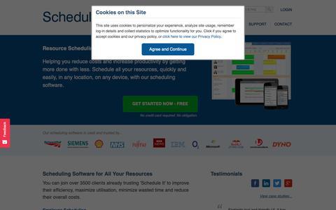 Screenshot of Home Page scheduleit.co.uk - Resource Scheduling Software from Schedule it - captured Nov. 12, 2018