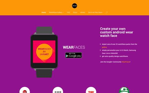 Screenshot of Home Page wearfaces.com - WearFaces | create your custom watchfaces for android wear - captured Dec. 13, 2014