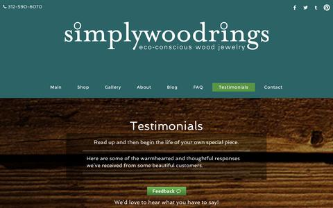 Screenshot of Testimonials Page simplywoodrings.com - Tell us what you think! | Simply Wood Rings - captured Sept. 30, 2014