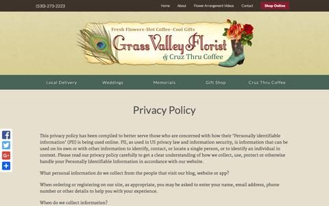 Screenshot of Privacy Page grassvalleyflorist.com - Privacy Policy - Grass Valley Florist - captured Dec. 13, 2015