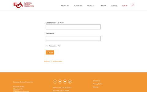 Screenshot of Login Page europeanchoralassociation.org - Log In | European Choral Association - captured Sept. 29, 2018