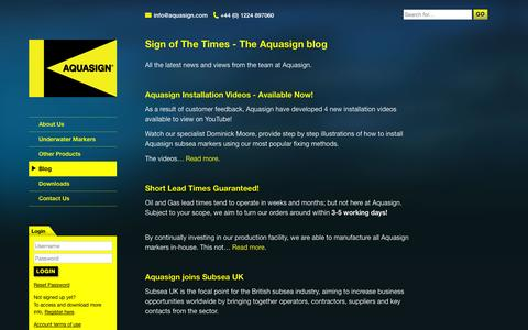 Screenshot of Blog aquasign.com - Blog - Aquasign - Marine Antifouling Subsea Markers - captured Oct. 4, 2014