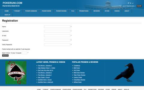 Screenshot of Signup Page pokeruni.com - Registration - captured Sept. 30, 2014