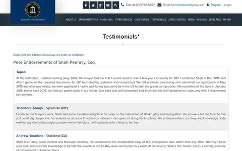 Screenshot of Testimonials Page peerallylaw.com - Attorney Endorsements, Client Reviews- Shah Peerally Law Group - captured Oct. 18, 2018