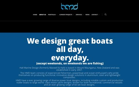 Screenshot of About Page hallmarinedesign.com - ABOUT US |  Hall Marine Design - captured July 10, 2016