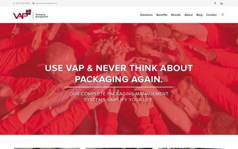 Screenshot of Home Page vapmanaged.com - VAP: Corrugated Packaging Management and Manufacturing in Dayton Ohio - captured Oct. 7, 2014