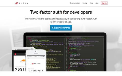 Screenshot of Developers Page authy.com - Two-Factor Authentication for Developers | Authy - captured Sept. 13, 2014