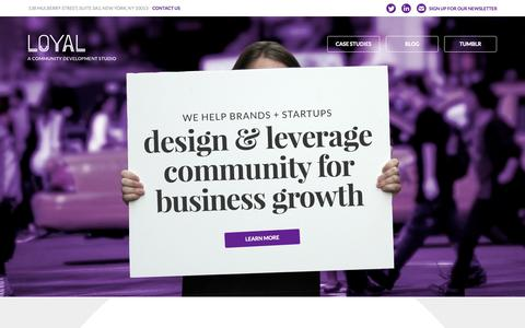 Screenshot of Home Page Case Studies Page loyal.is - Loyal | A Community Development Studio - captured Sept. 30, 2014