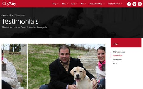 Screenshot of Testimonials Page cityway.com - Testimonials - CityWay - Best Downtown Indianapolis Places to Live - captured Sept. 29, 2014