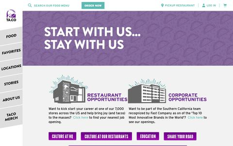 Screenshot of Jobs Page tacobell.com - Taco Bell Careers | Start With Us, Stay With Us - captured March 10, 2018
