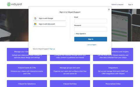 Screenshot of Support Page vidyard.com - Vidyard Support - captured Nov. 4, 2018