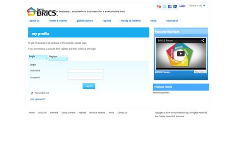 Screenshot of Login Page bricsforum.org - User Management | BRICS Forum - captured Sept. 30, 2014