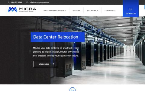 Screenshot of Home Page data-center-relocation.com - Data Center Movers - MIGRA Systems - captured July 9, 2018