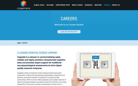 Screenshot of Jobs Page cogstate.com - Careers - Cogstate - captured July 14, 2016