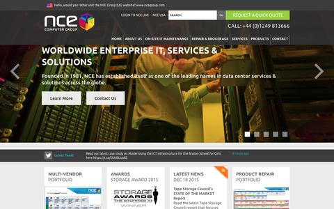 Screenshot of Home Page nceeurope.com - NCE Computer Group (Europe):Data Centre Support & Service Specialists - captured Feb. 16, 2016