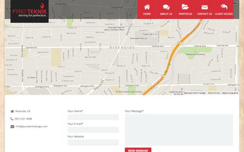 Screenshot of Contact Page pyroteknikdesign.com - Contact | Pyro Teknik - captured Oct. 3, 2014